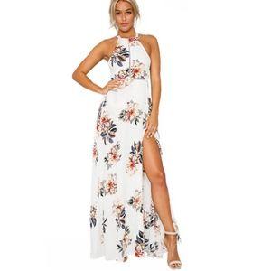 Dresses & Skirts - White Floral Halter Maxi Dress